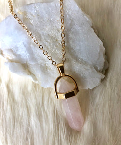Pink Quartz Crystal Prism Necklace-Gold