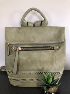 Olivia Fold Over Lux Backpack-Olive