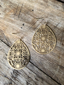 Intricate Filigree Floral Teardrop Earrings-Gold