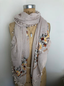 Embroidery Pompom Pale Cream  Scarf Shawl