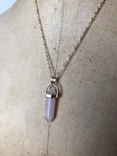 Load image into Gallery viewer, Pink Quartz Crystal Prism Necklace-Gold