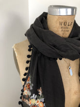 Load image into Gallery viewer, Embroidered Pom Pom Dark Grey Scarf Shawl