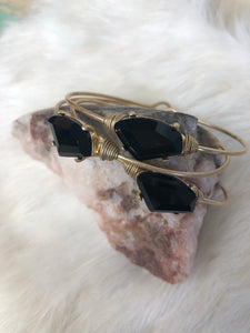 Black Crystal Wired Gold Bracelet
