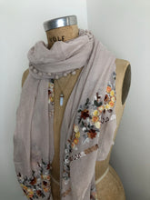 Load image into Gallery viewer, Embroidery Pompom Pale Cream  Scarf Shawl