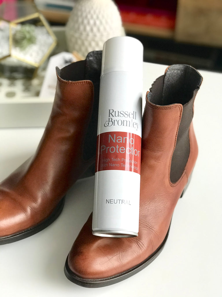 Protecting leather boots with spray