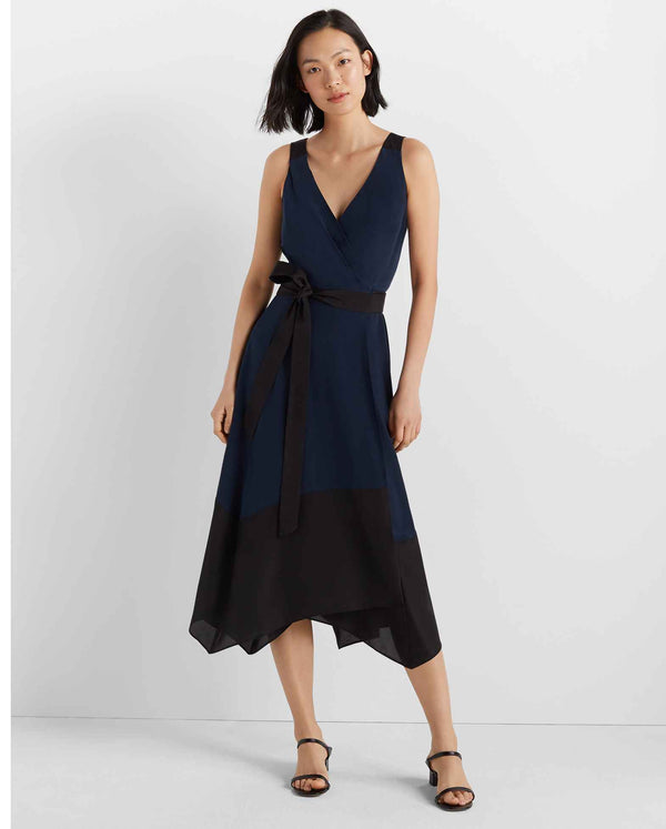 Club Monaco Colour Block Wrap Dress