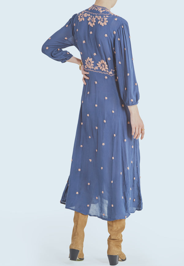 Free People Embroidered Maxi Dress in Navy