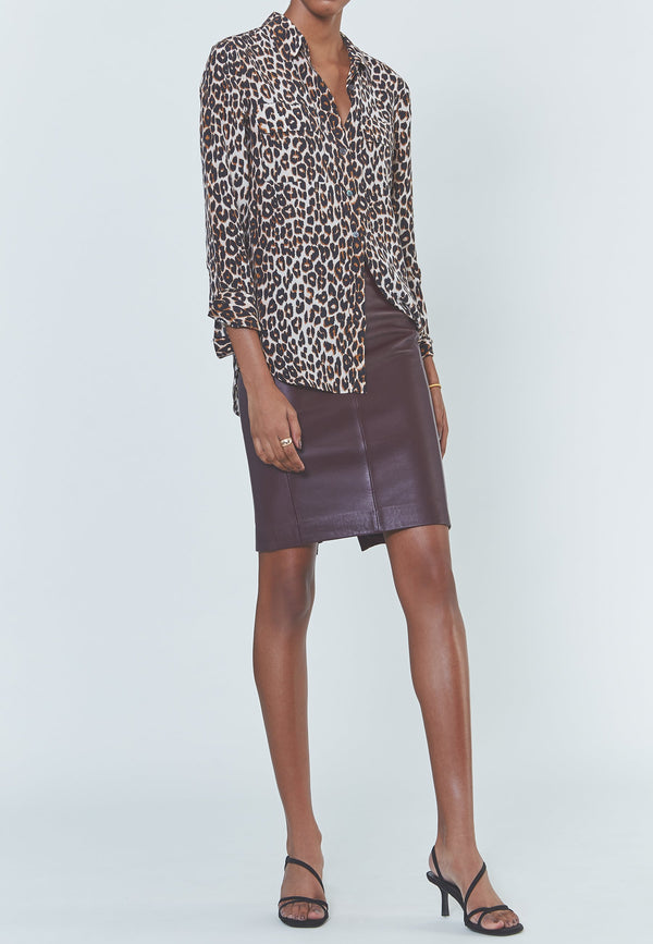 Buy Item : Equipment Slim Signature Silk Shirt in Natural Underground Leopard Print
