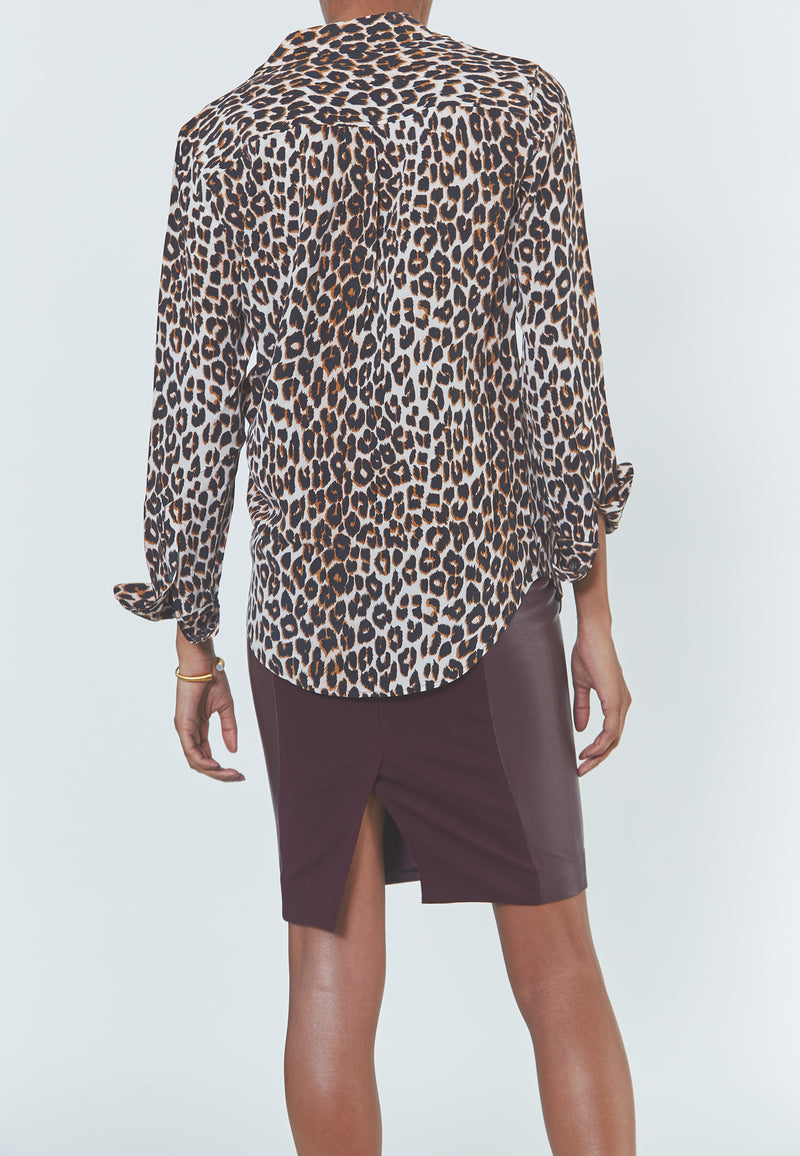 Equipment Slim Signature Silk Shirt in Natural Underground Leopard Print