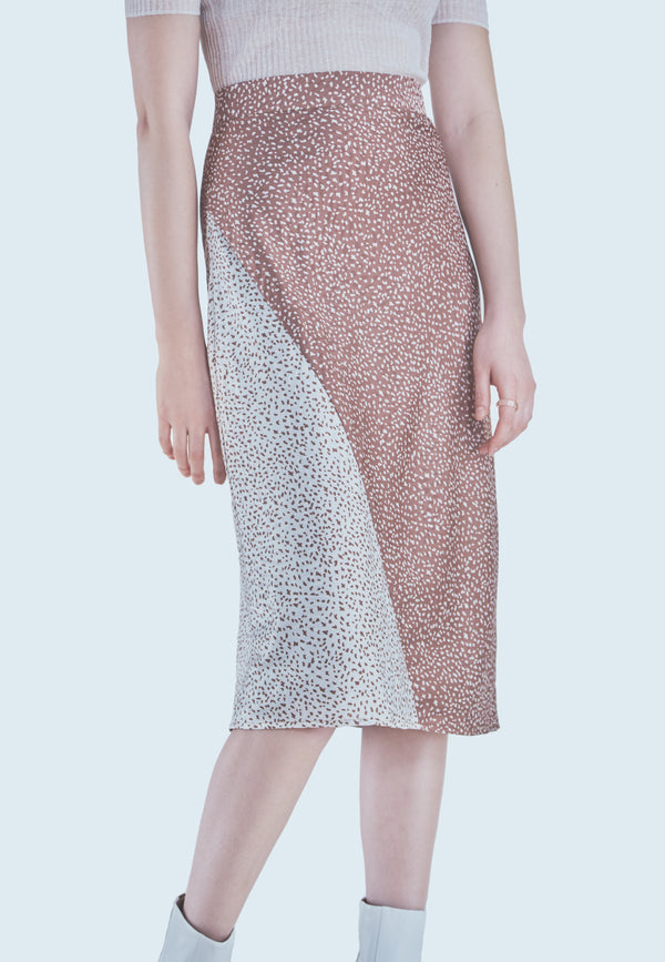 Hutch Bess Combo Skirt in Copper Ditsy Dalmation Print