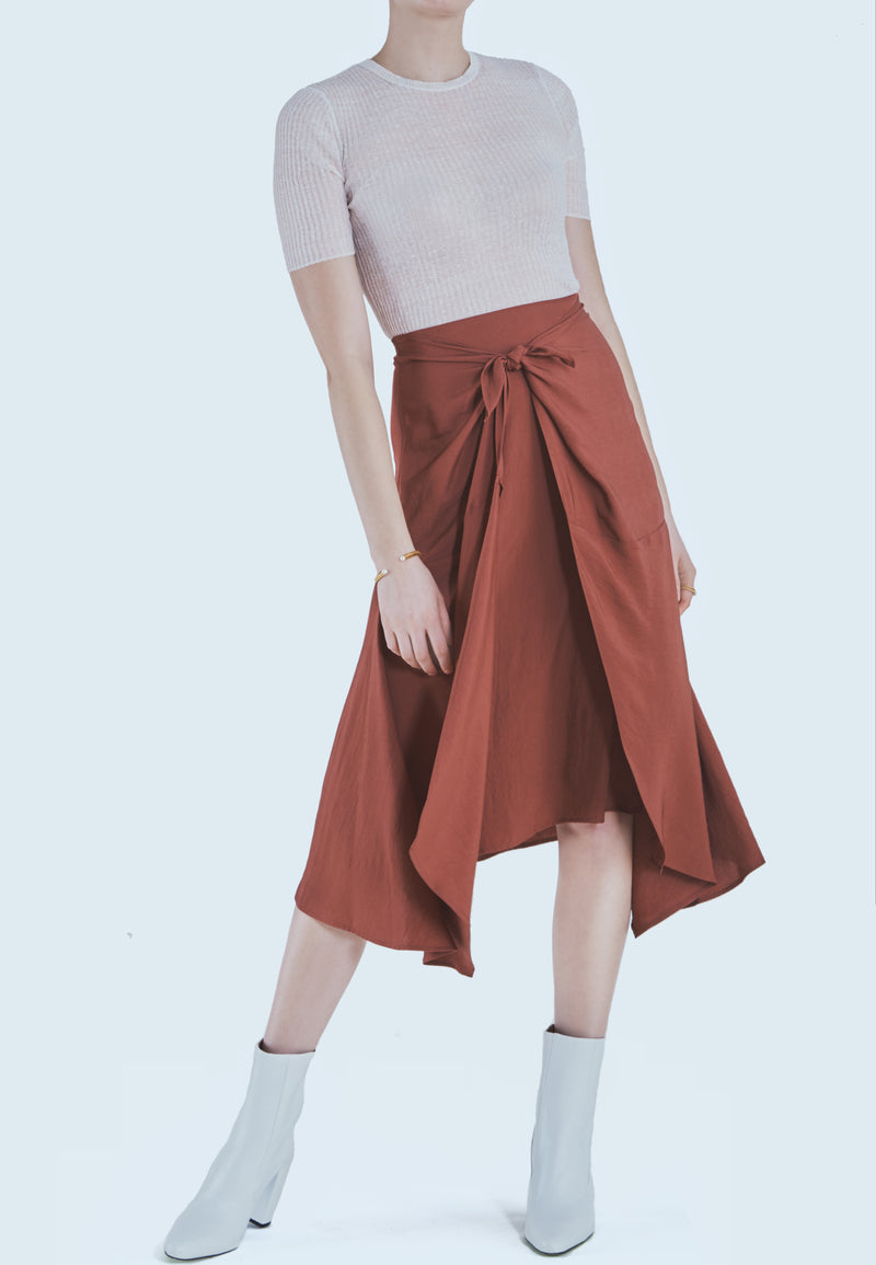 Vince Tie Front Asymmetric Woven Skirt