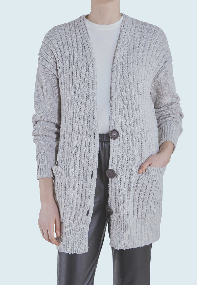 Free People Sunset Drive Cardi in Light Grey