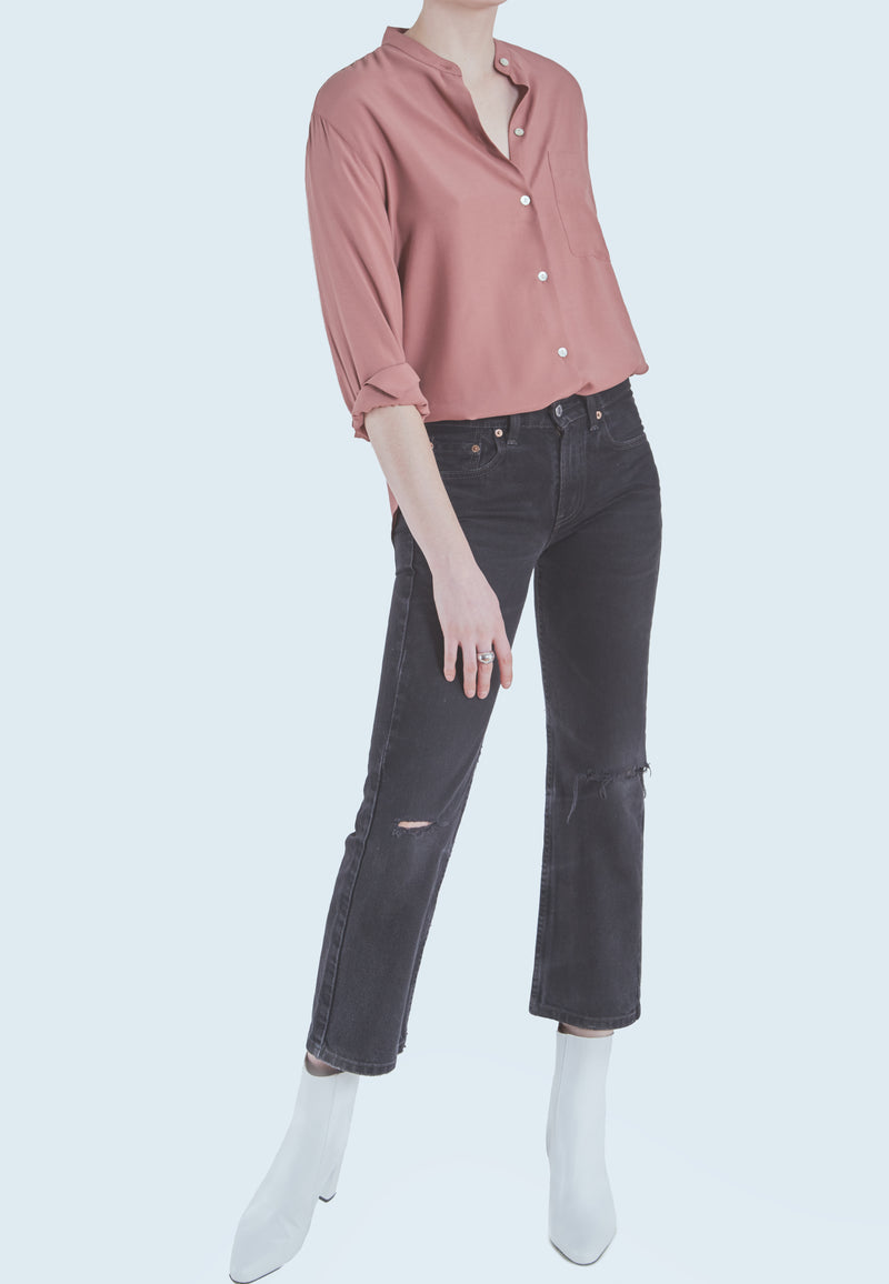 Vince Relaxed Band Collar Blouse in Esme