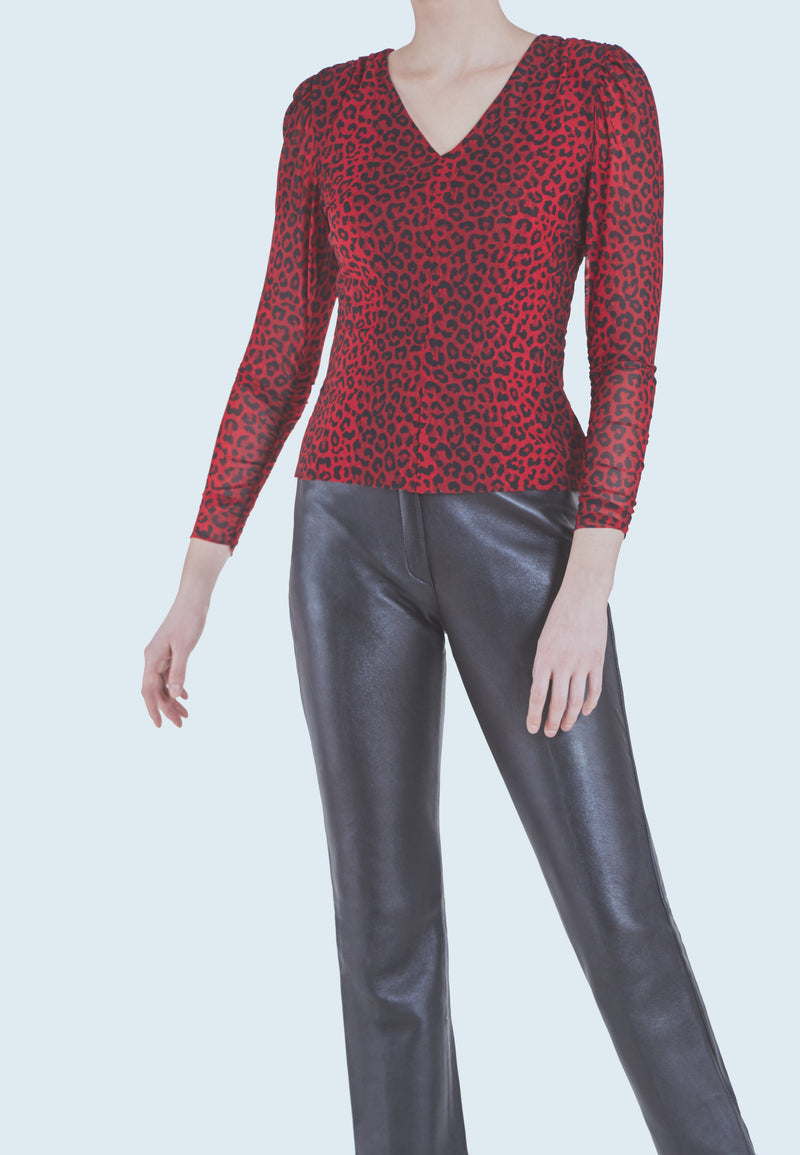 Notes du Nord Naomi V-Neck Blouse in Poppy Leopard