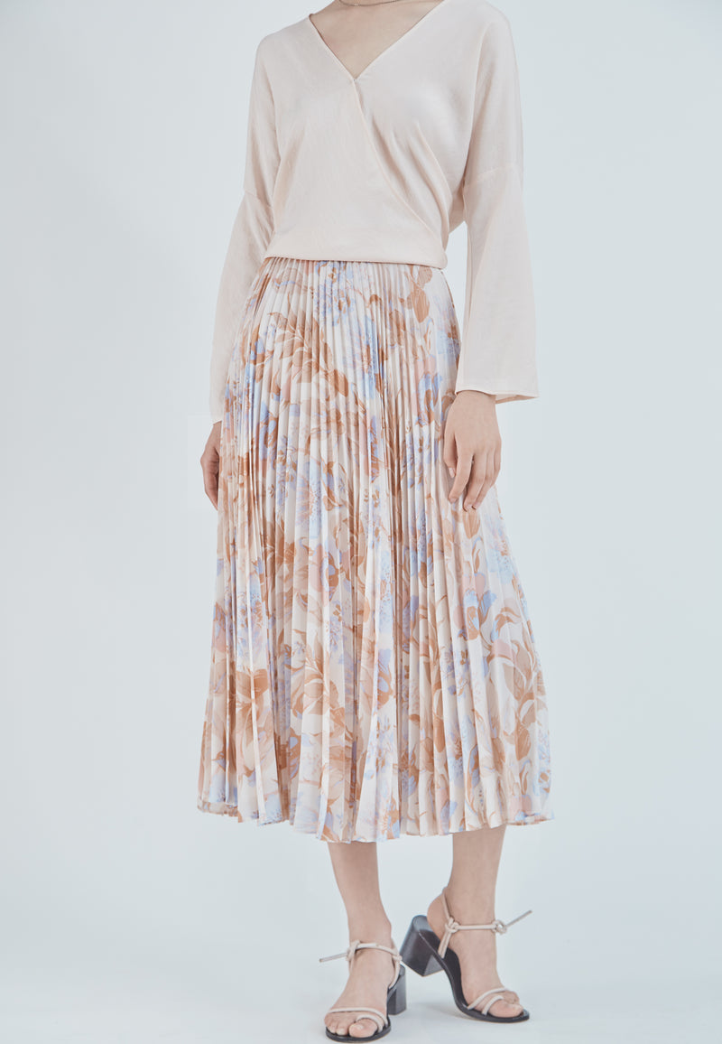 Vince Pleated Marine Garden Skirt