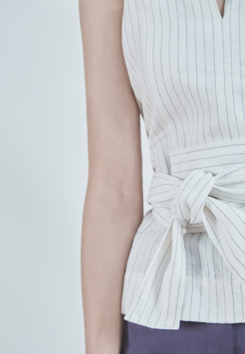 Vince Pencil Stripe Belted Shell