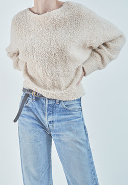 Vince Teddy Cropped Boatneck Sweater