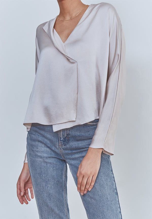 Vince Drape Panel Silk Blouse