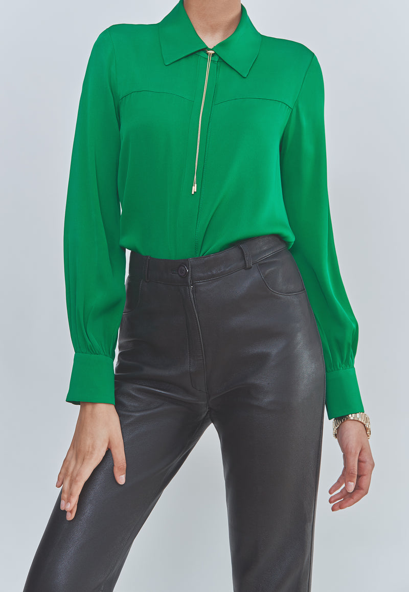 Milly Penelope Silk High-Low Blouse