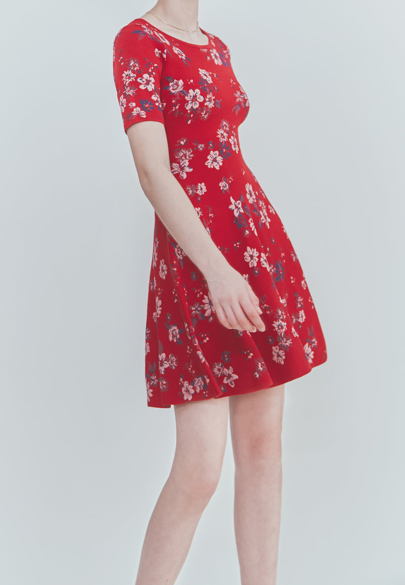 Milly Twilight Floral Print and Flare Dress