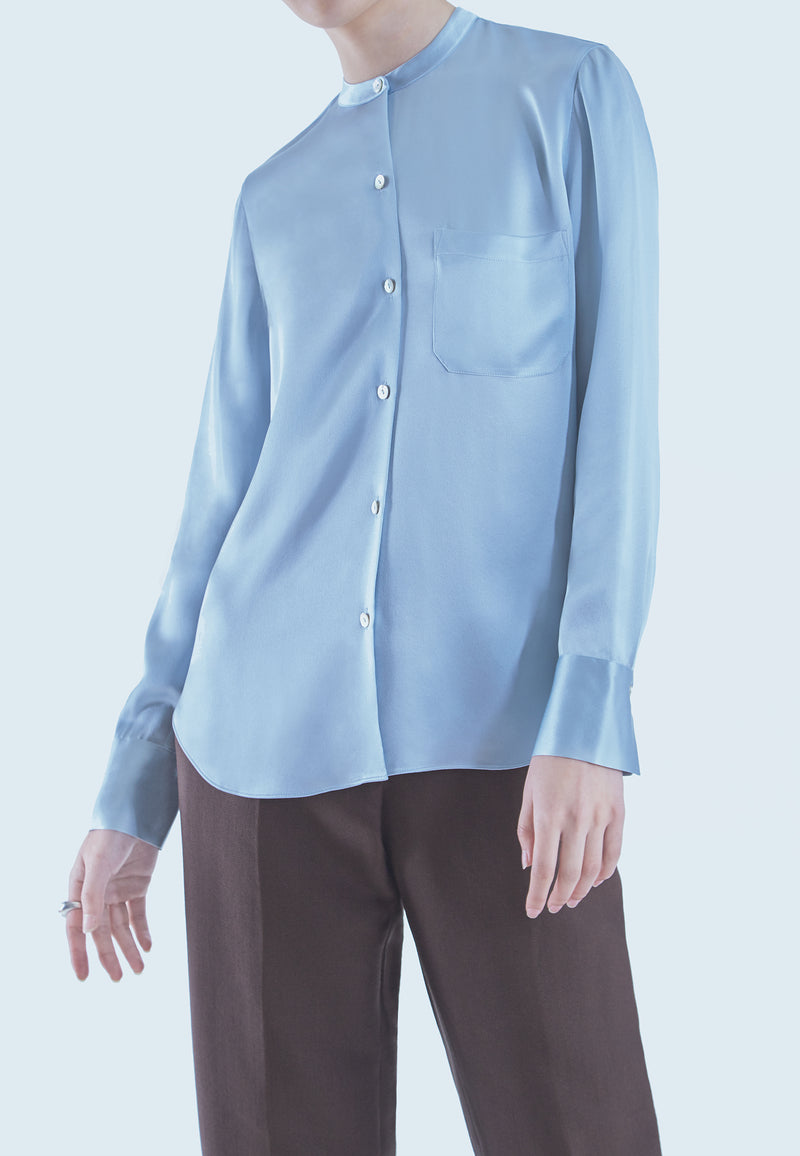 Vince Slim Fit Band Collar Blouse