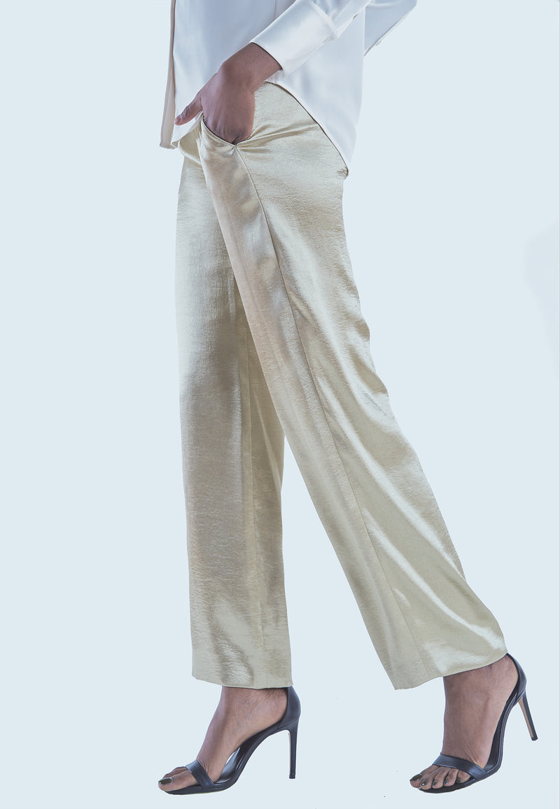 Vince Gold Metallic Wide Leg Pant