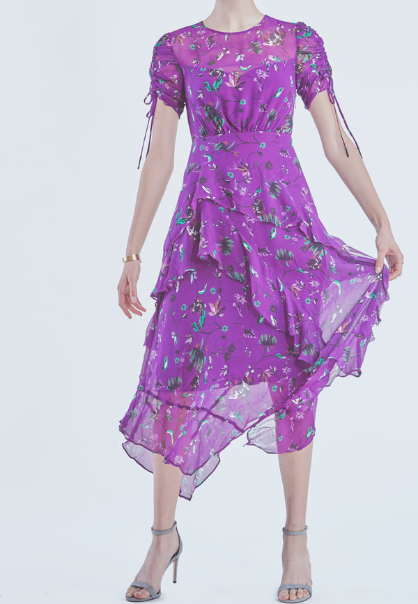 Tanya Taylor Vines Print Tiered Silk Handkerchief Dress