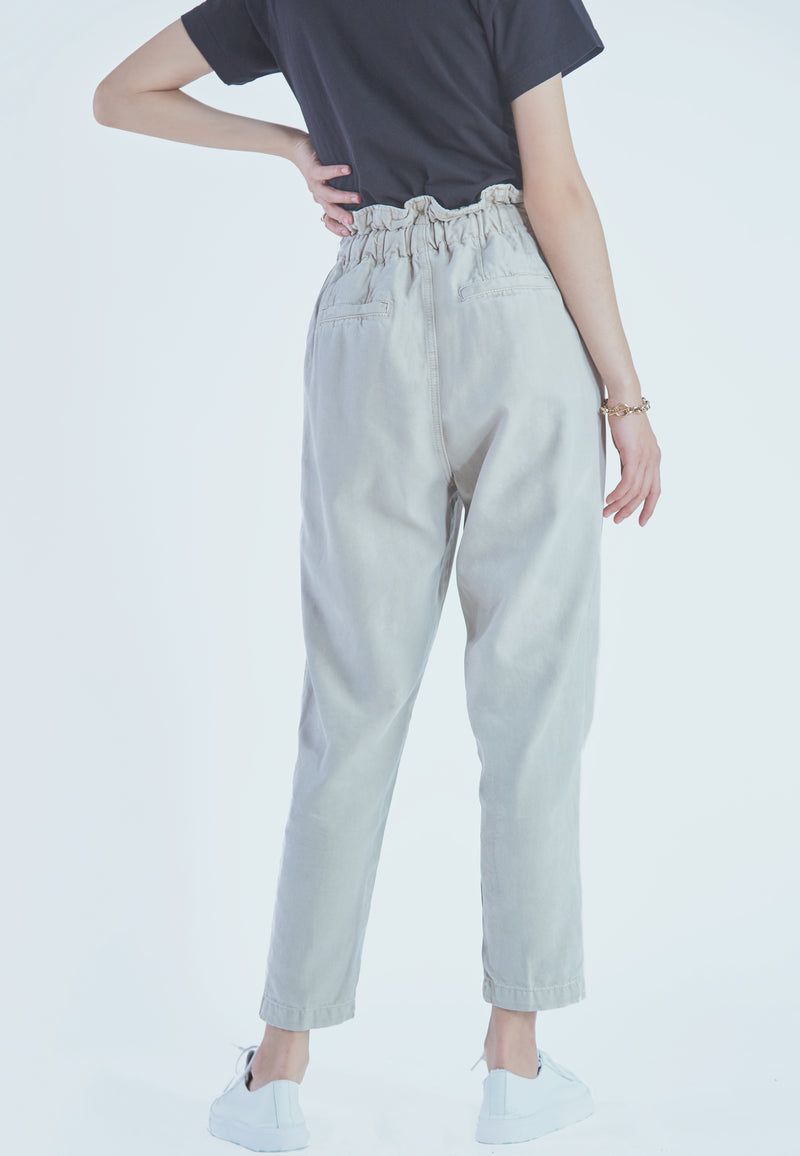 Free People Margate Pleated Trouser in Moss Green