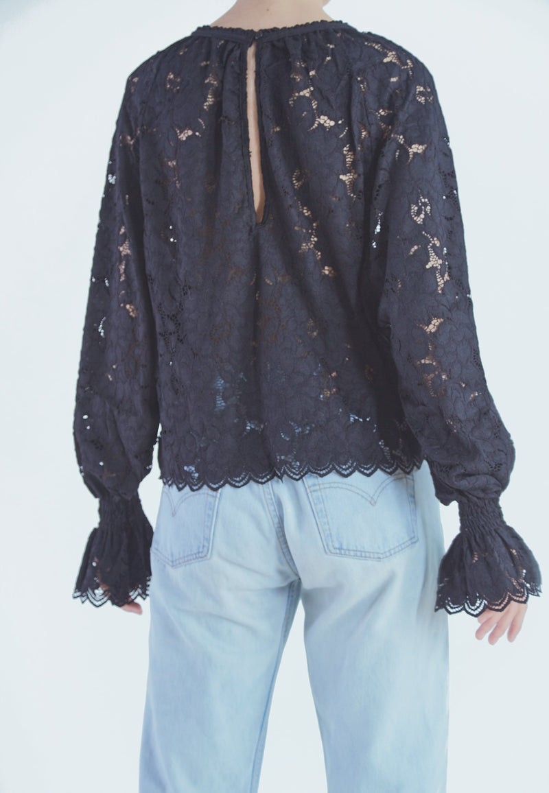 Buy Item : Free People Olivia Lace Tee in black