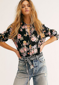 Free People Hold On To Me Printed Top in Black Combo