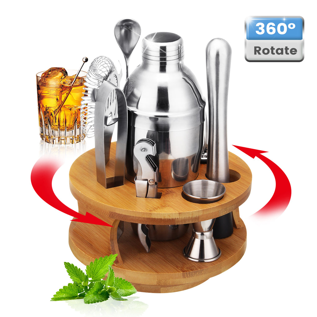 9Pcs Cocktail Stainless Steel Shaker Set Cocktail Edelstahl Bar Set Mixer Silber