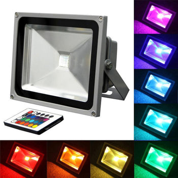 20W RGB Color Changing Outdooors Remote Control LED Flood Light 85-265V