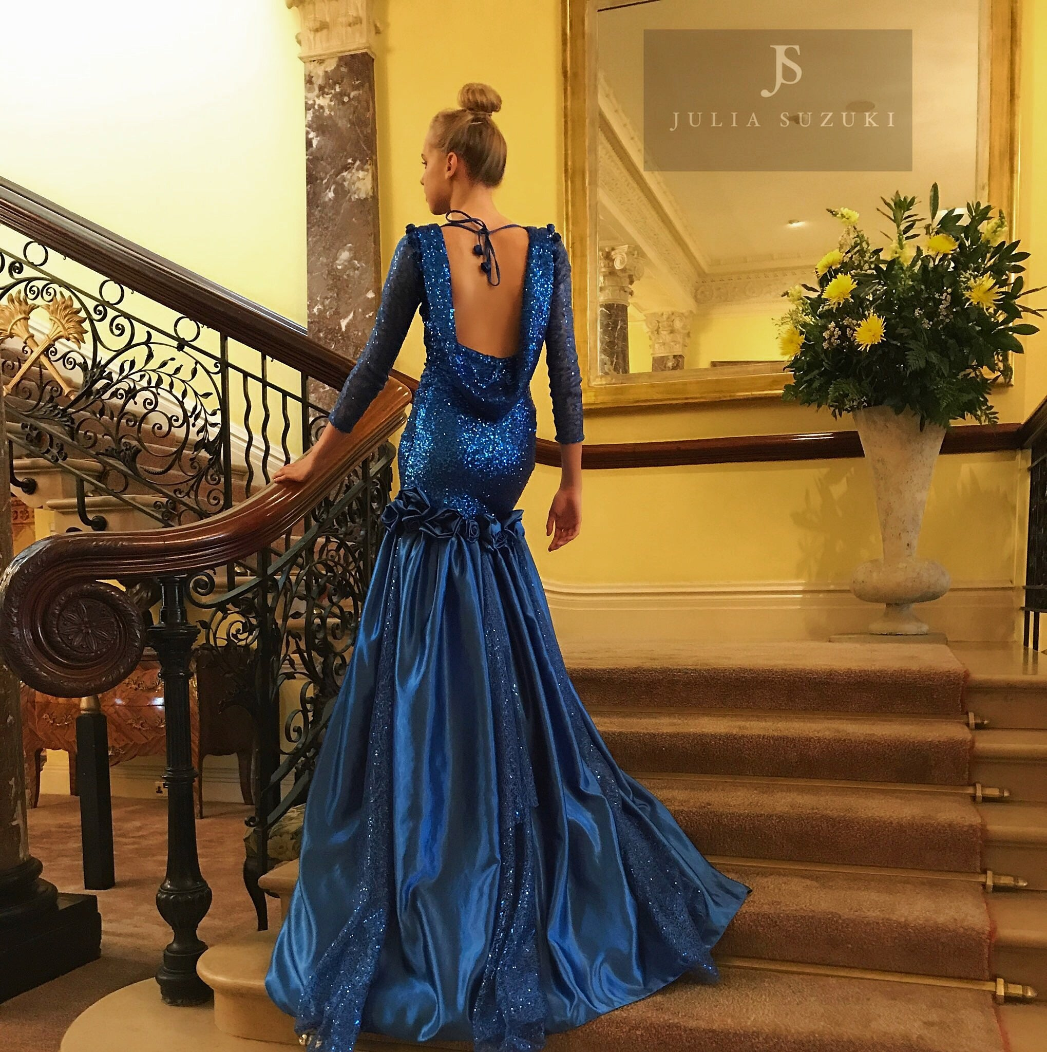 'Azure Park' blue evening dress
