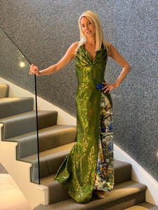 'Astoria' lime green sequin and silk floral evening gown