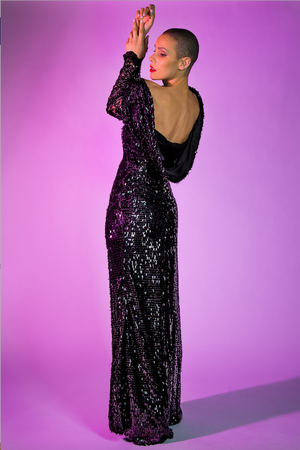'Saigon' black ribeye sequin evening dress