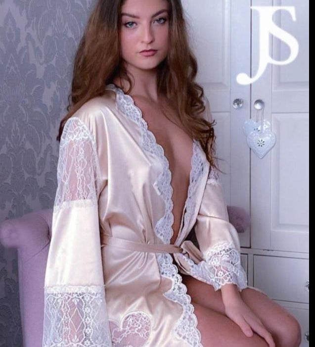 'Valentina' pure silk and french lace robe with pearl featuring.
