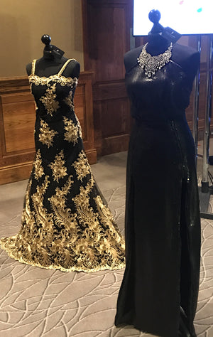 'Emirate' black and gold embelished evening dress