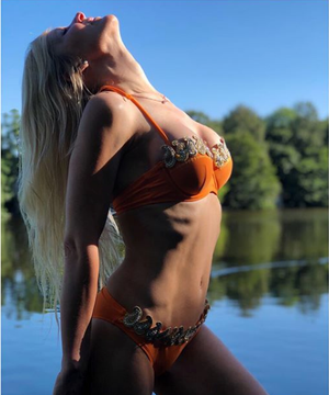 'Champagne Beach' orange and gold bikini