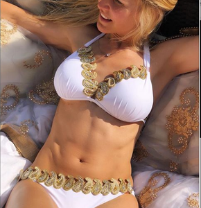 'White Queen' white and gold bikini