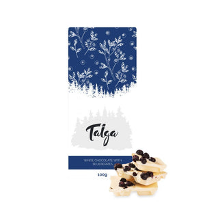 *Best By Date 15/12* | Taiga's White Chocolate With Wild Bilberries 100g white chocolate Taiga Chocolate online shop