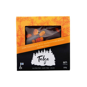 Dark Chocolate with Sea Buckthorn Berries (55% cocoa) - 50g Taiga Chocolate online shop