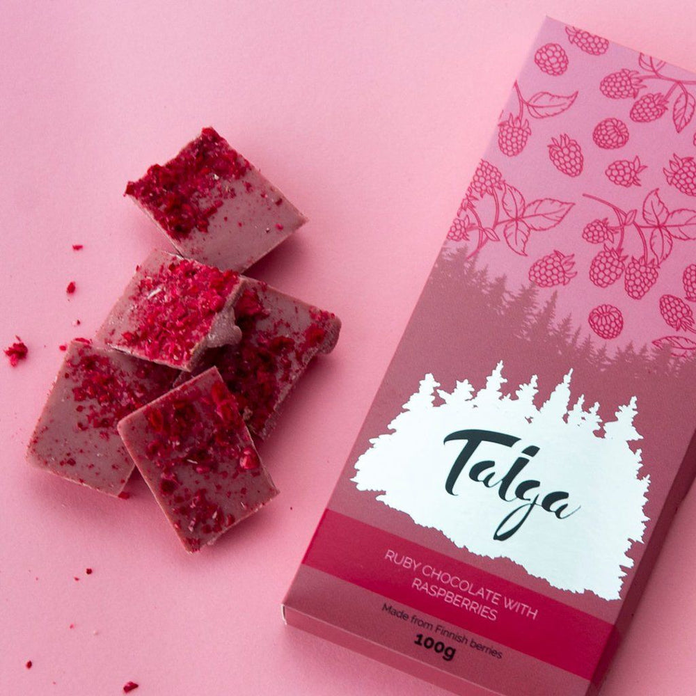 Ruby Chocolate with Raspberries 100g Ruby Chocolate Taiga Chocolate