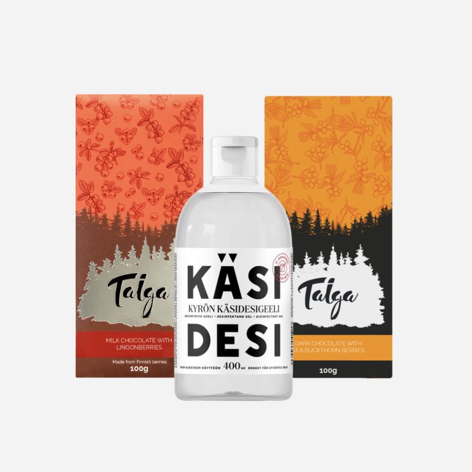 Spring essentials + FREE hand sanitiser by Kyrö Distillery Taiga Chocolate online shop