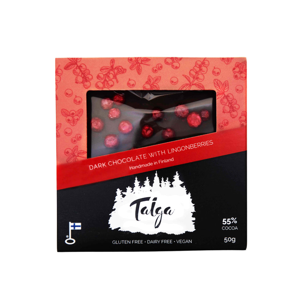 Taiga's Dark Chocolate With Lingonberries (55% cocoa) 50g Taiga Chocolate online shop