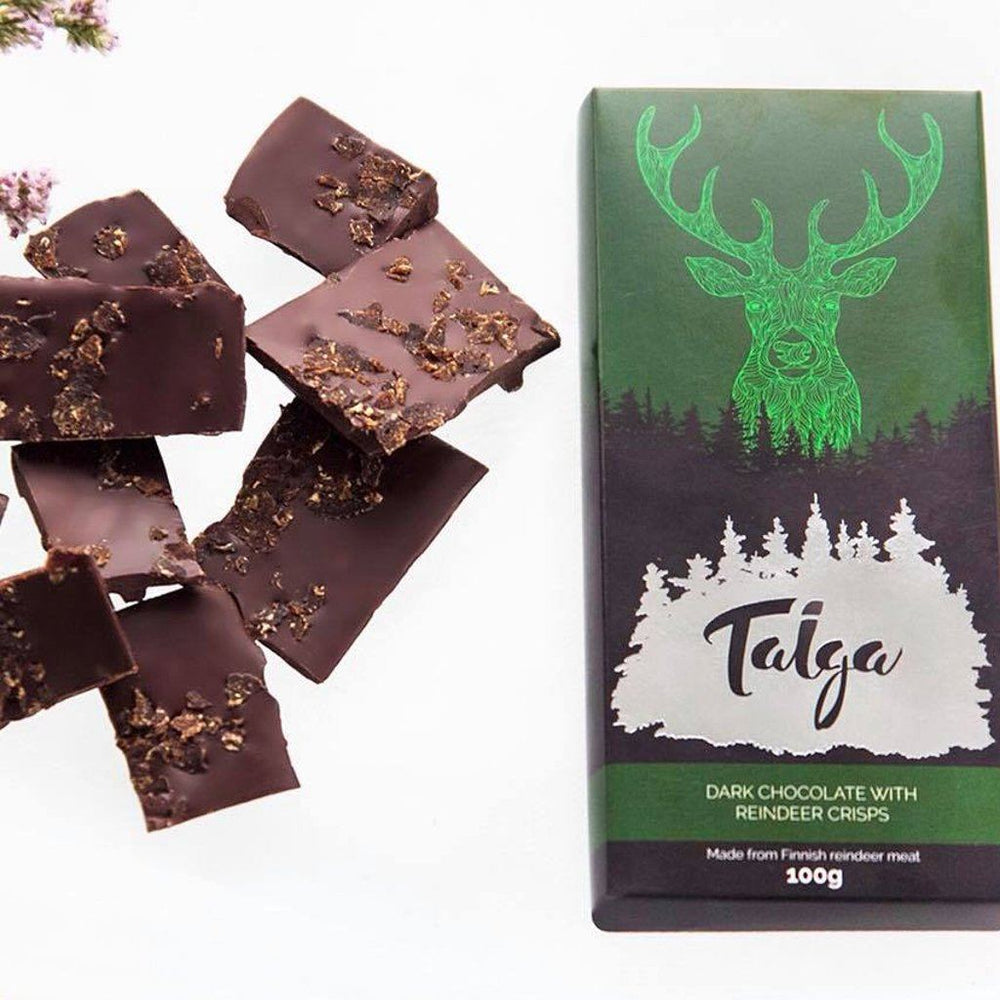 Taiga's Dark Chocolate With Reindeer Crisps 100g -50% (Best before date: the 2nd of August) Dark chocolate Taiga chocolate