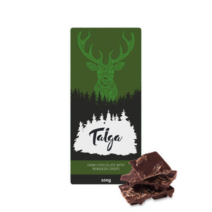 Load image into Gallery viewer, Taiga's Dark Chocolate With Reindeer Crisps 100g -50% (Best by August 2nd) Dark chocolate Taiga chocolate