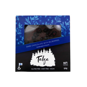 Load image into Gallery viewer, Taiga's Dark Chocolate With Wild Bilberries (56% cocoa) 50g Taiga Chocolate online shop