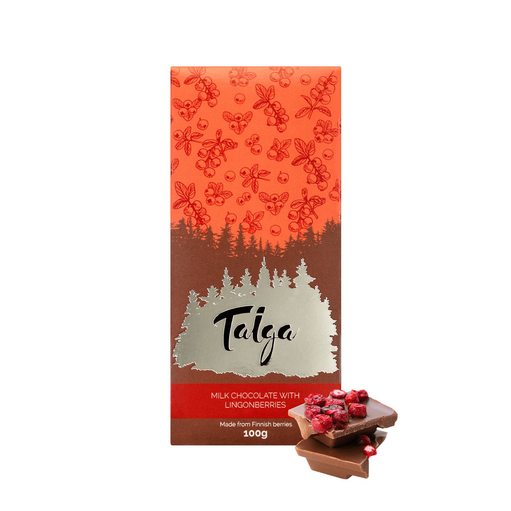 Taiga's Milk Chocolate with Lingonberries 100g Milk Chocolate Taiga chocolate