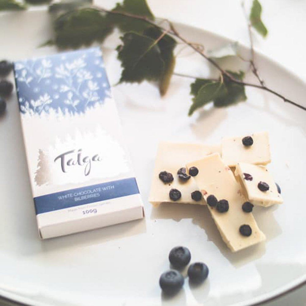Load image into Gallery viewer, Taiga's White Chocolate With Wild Bilberries 100g white chocolate Taiga chocolate