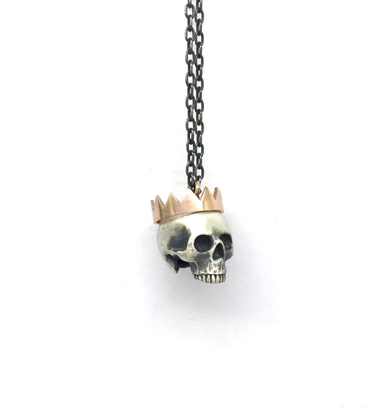 Large Paper Crown half skull necklace